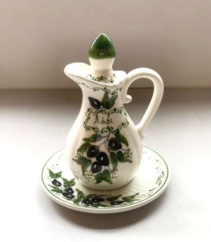Olive Oil Pitcher with Plate, Hand Painted