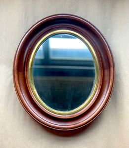Small Oval Mirror in Wood Frame