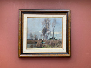 Framed Oil Painting of Tall Trees with House and Pond