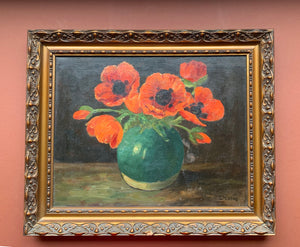 Painting of red poppies in vase with ornate frame