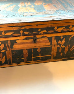 Latch on European Primitive Marquetry Box