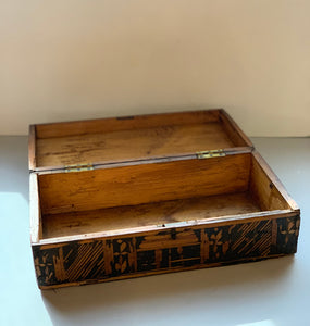 Inside of European Primitive Marquetry Box