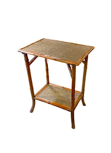 Rectangular Bamboo Table with One Shelf