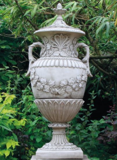 Cast Stone Ornate Urn with Lid, Romsey Urn