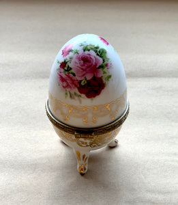 Back of Porcelain Egg with Roses and Gold Painted Surround, Collectible