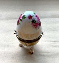 Side of Porcelain Egg with Roses and Gold Painted Surrounded, Collectible