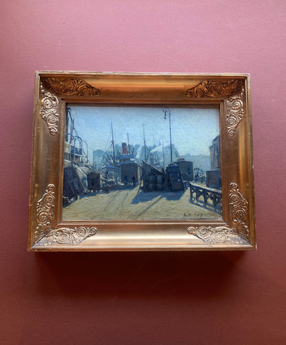 Framed Oil Painting of Shipyard, E V Bogh, Small