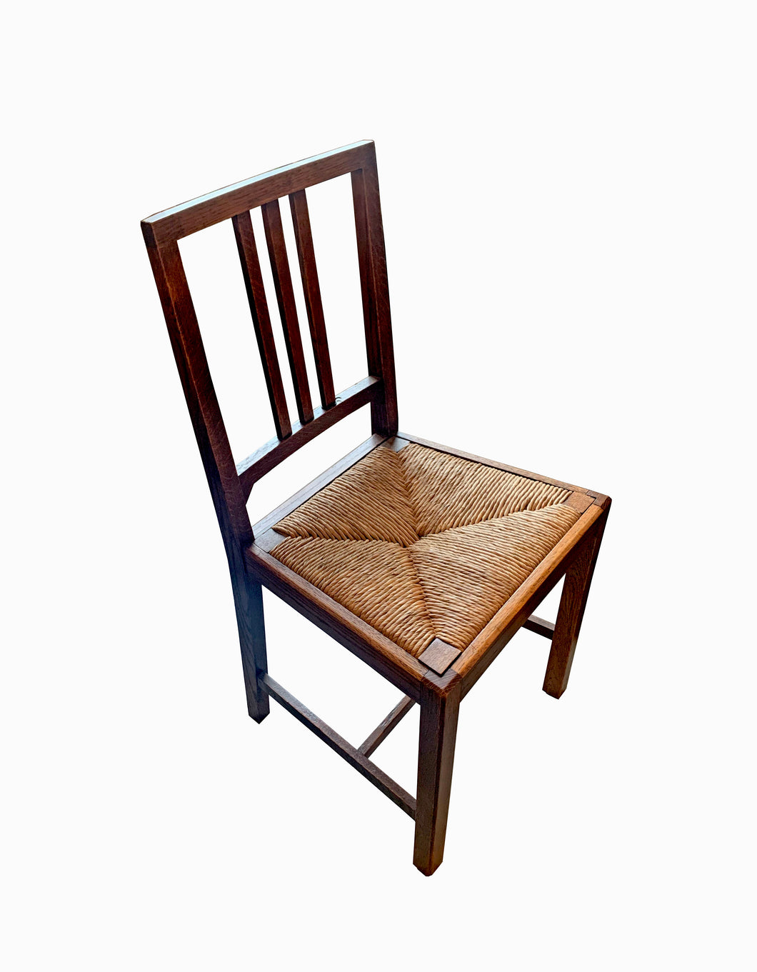 English Oak Straight Back Side Chair with Wicker Bottom
