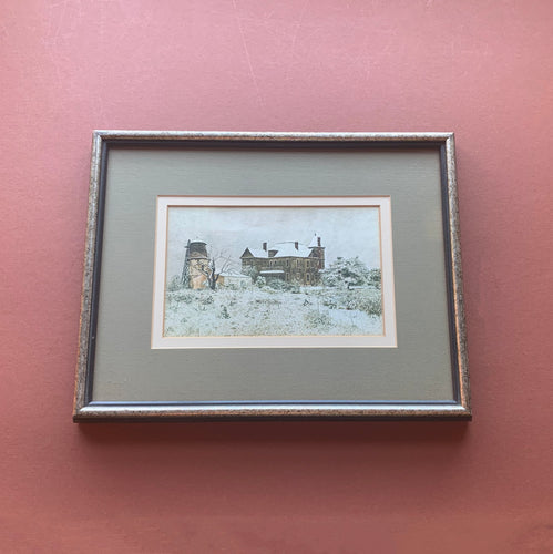 Framed Snowy House Print with Grey Mat