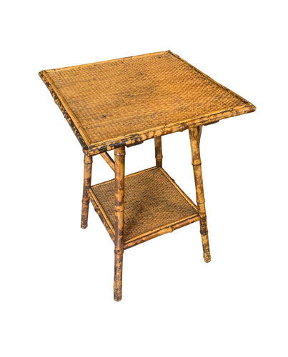 Square Bamboo Table with Small Shelf, European