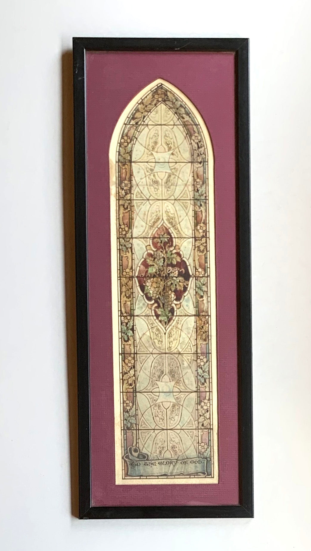 Stained Glass Print with Maroon Mat and Black Frame