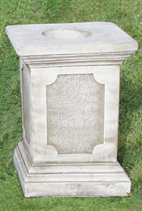 Tall Cast Stone Plinth with Panel Insert, Concrete Statue