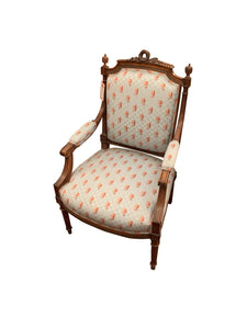 Pair of Louis XVI Arm Chair with Brunschwig and Fils Fabric.