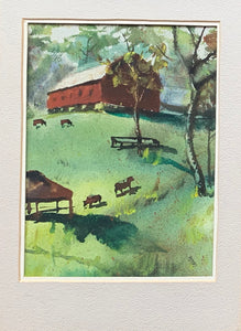 Close up of Watercolor of Barn and Cows