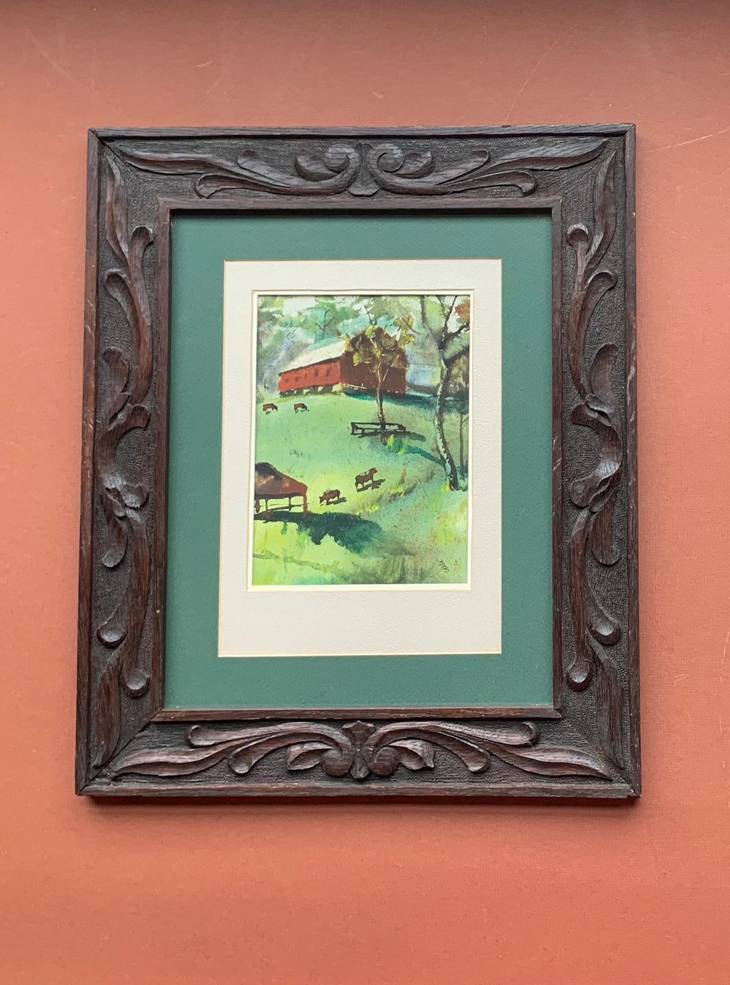 Framed Watercolor of Barn and Cows