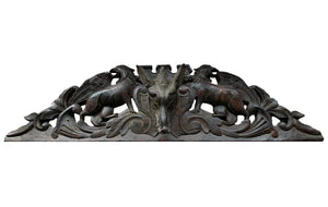 Black Forest Style Cornice with Wolf Head and Griffins