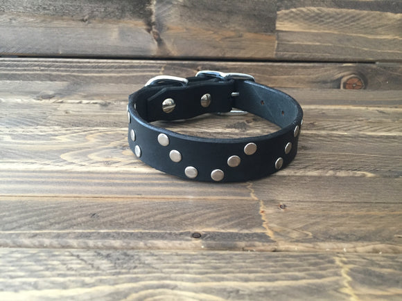 'HELIX' LEATHER Rivet Dog Collar  1