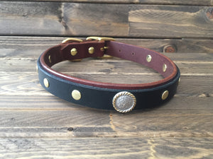 "'COOPER' SELECT LEATHER Dog Collar  1"" - Chocolate Brown with Black"