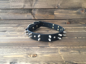 "'SPIKE' LEATHER Dog Collar  1"" - Black"