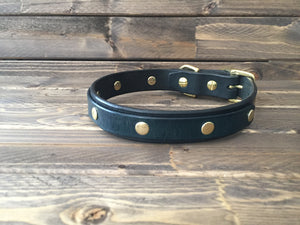 "'GEORGE' SELECT LEATHER Dog Collar   1"" - BLACK w/ Choose colour for 2nd layer of leather"
