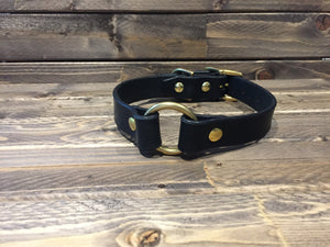 "'RINGO' LEATHER Dog Collar  1"" - Black"