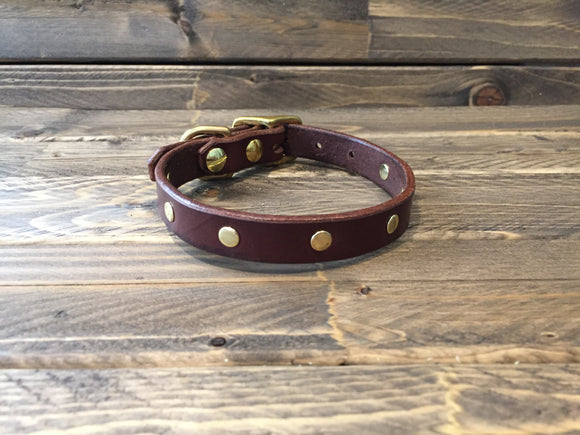 'BECK' LEATHER Rivet Dog Collar 5/8