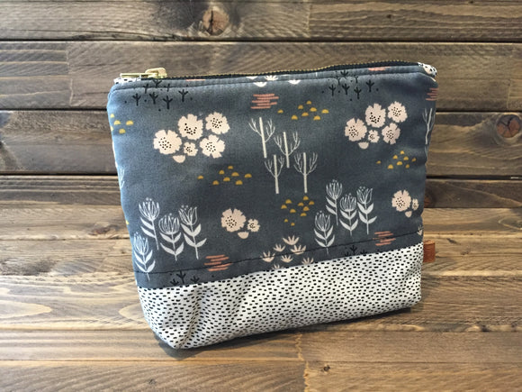 Grey Floral Print Carry-All Fabric Pouch