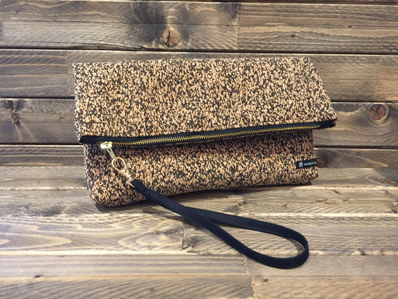 Cork Foldover Clutch - Natural/ Black