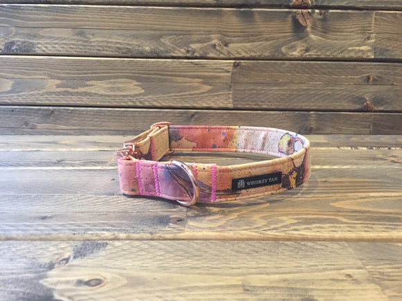 'WATERCOLOUR FLORAL' Cork Dog Collar  1