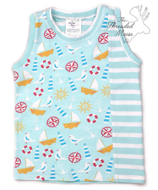 Sideswipe Tank - Size 2T -  Lets Go Boating - Ready to Ship