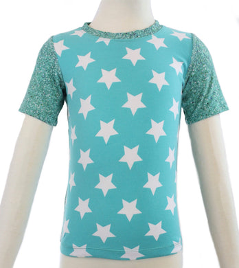 5K Shirt - Aqua Stars & Sparkles - Ready to Ship