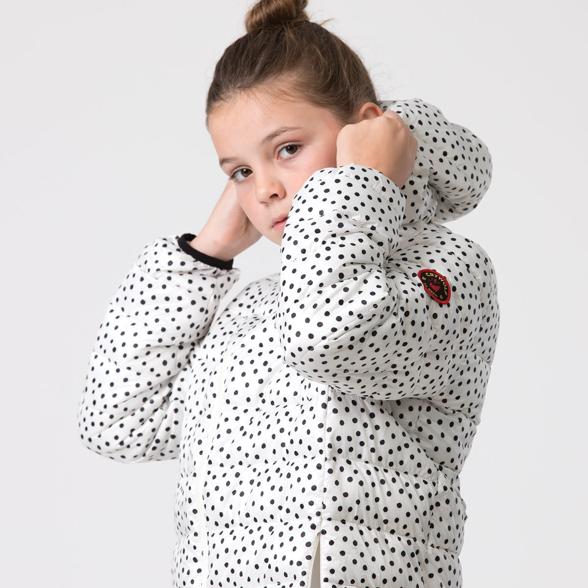crywolf eco-puffer jacket children's spots