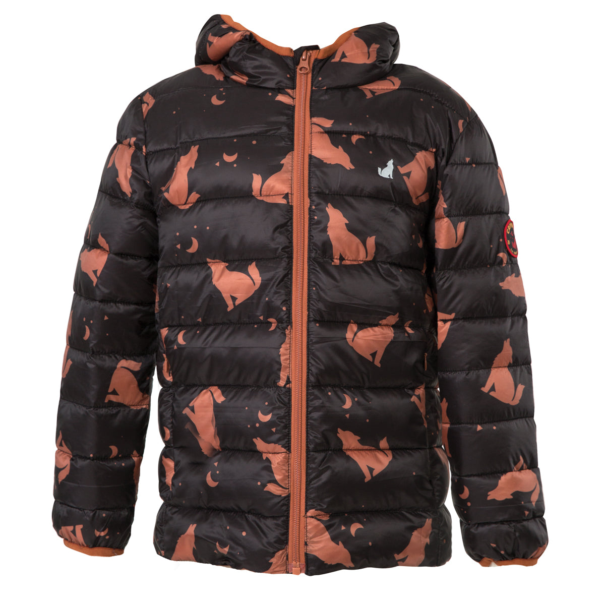 crywolf eco-puffer jacket children's wolf front