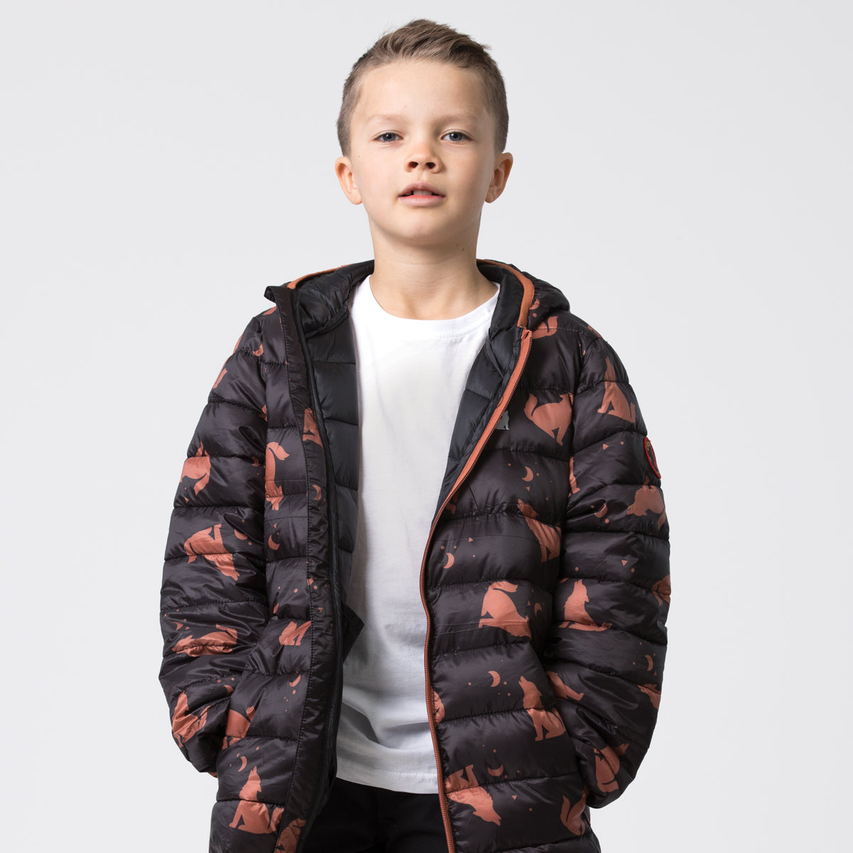 crywolf eco-puffer jacket children's wolf