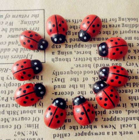 Lady Bugs - Colorful/Wooden Mini Decorations For Your Pot Plants and Garden - 100 Pieces