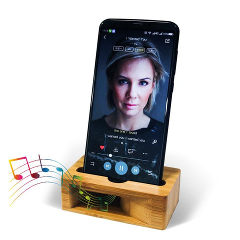 Bamboo Phone Dock and Sound Amplifier