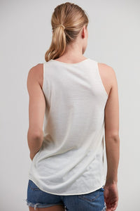 Namaste Om Print Tank Top Off White/Cream