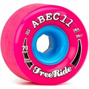 ABEC11 FreeRide Stone Ground Wheel Set 70mm 78a Pink/Blue