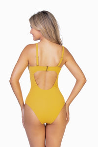 Beach Joy Bikini Mustard Yellow One-Piece Swimsuit