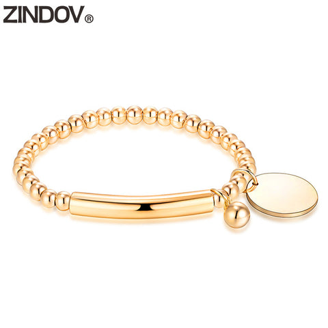 ZINDOV Bracelets For Women Gold Stainless Steel Bead Bracelet Stretch Charms Brand Rose Gold Strand Female Handmade Jewelry Gift