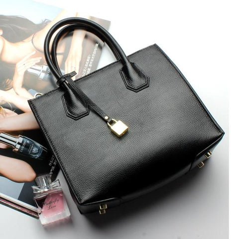 Women's Genuine Leather Cowhide Luxurious Brand Totes Shoulder Bag Women Crossbody Bags Handbags Women Messenger Bags Lock Bolsa