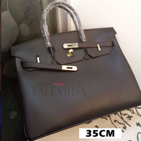 VALENMISA Brand 35CM Women Luxury Totes Bags Genuine Leather Handbag With Lock Saffiano Bags Fashion Style Ladies Shoulder Bag