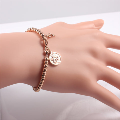 ZINDOV Trendy Rose Gold Color Stainless Steel Handmade Beaded Charm Bracelets Women Cute Simple Jewelry Pulseras Chirstmas Gifts