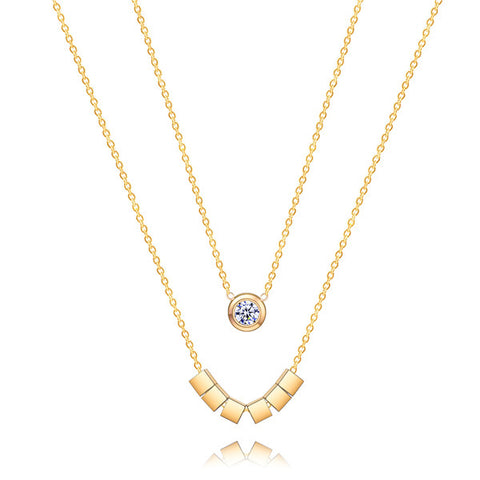 ZINDOV Fashion Jewelry Gold Necklace Women Stainless Steel Pendant Necklace Rose Gold Layered Cubic Zirconia Trendy Accessories