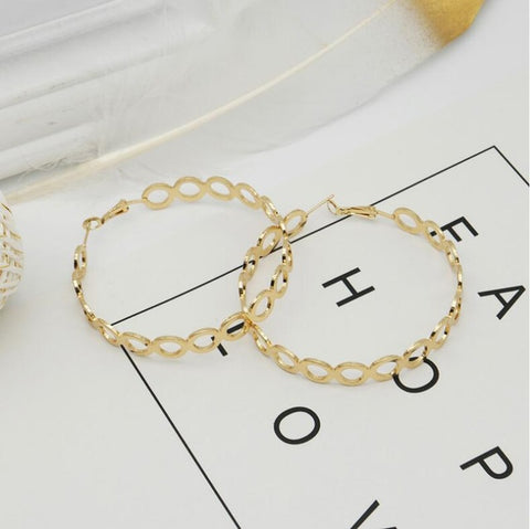 WHLYING 2018 New Design Hip Hop Big Gold Alloy Chain Infinity Basketball Wives Hoop Earrings for Women Fashion Jewelry