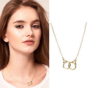 KUNIU 2015 Promation Hip Hop Jewelry Punk Style Unique Handcuffs Locket Gold And Silver color Link Chain Lariat Necklace