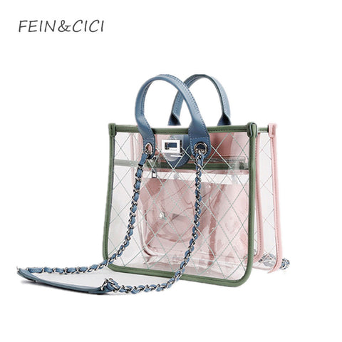 transparent totes bag clear pvc plastic quilted beach bags chains handbag women summer bags 2018 luxury brand fashion