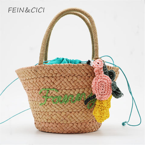 straw bag flower totes summer beach bag women 2018 new high quality brand fashion