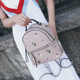 women genuine leather Backpack embroidery bag flower Backpacks 100% cow leather bag 2017 new arriver black pink grey color