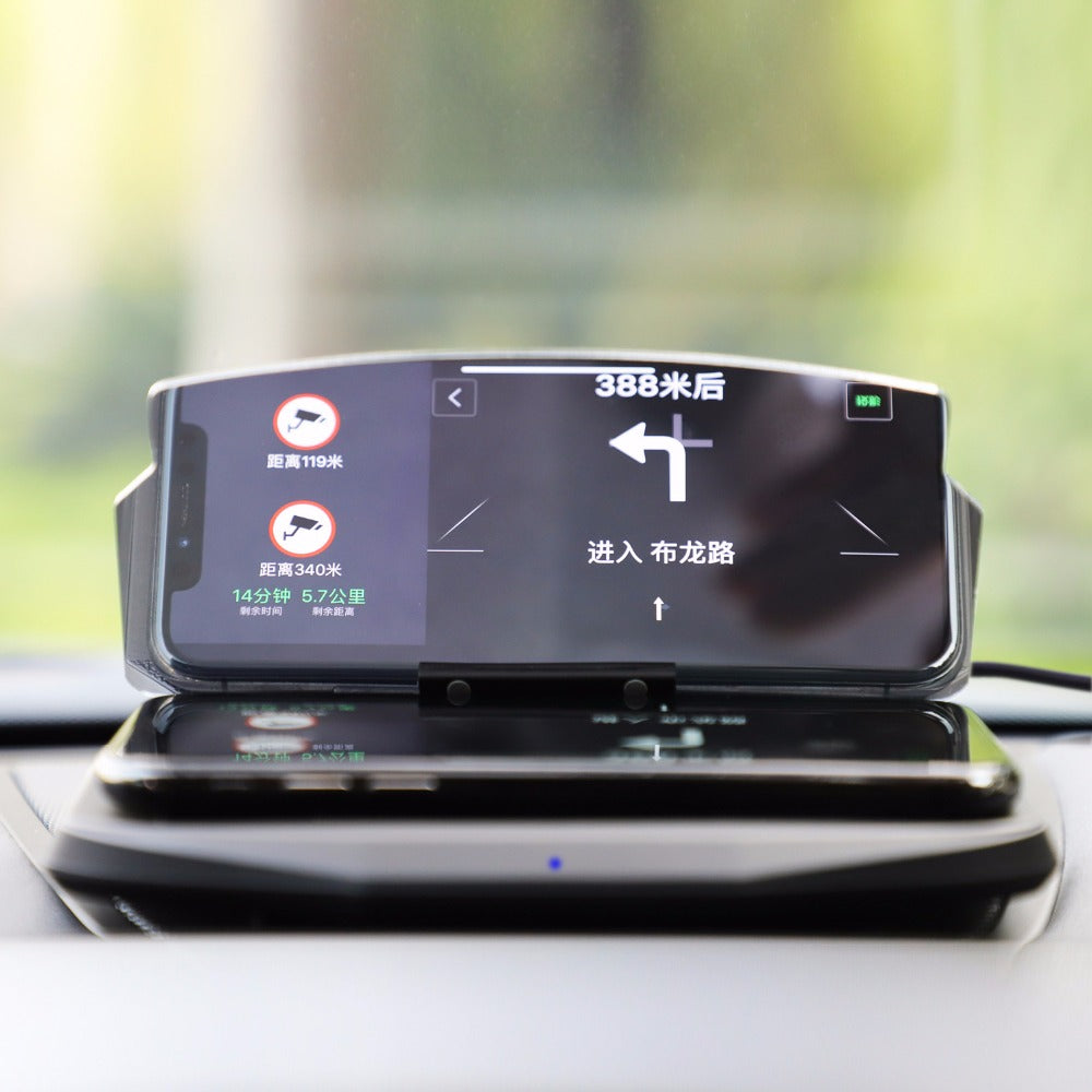 Head Up Display GPS Navigation with Wireless Charger